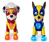 Characters Apparel PAW Patrol Mighty Pups Special Edition Figures with Light-up Badge and Paws, Marshall and Chase Bundle