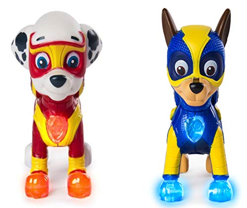 (Characters Apparel PAW Patrol Mighty Pups Special Edition Figures with Light-up Badge and Paws, Marshall and Chase Bundle)