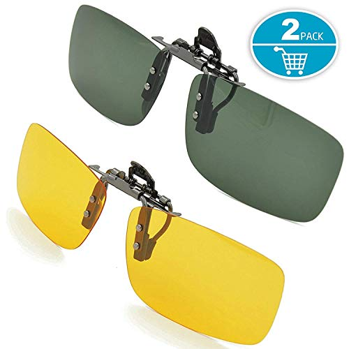 Splaks Clip-on Sunglasses, Unisex Polarized Frameless Rectangle Lens Flip Up Clip on Prescription Sunglasses Eyeglass, 2-Piece Clip on Glasses + Night Vision Glasses - Dark Green
