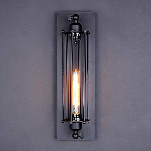 LNC Industrial Wall Sconce Lighting Vintage Wire Cage Steampunk Lamp, A02251