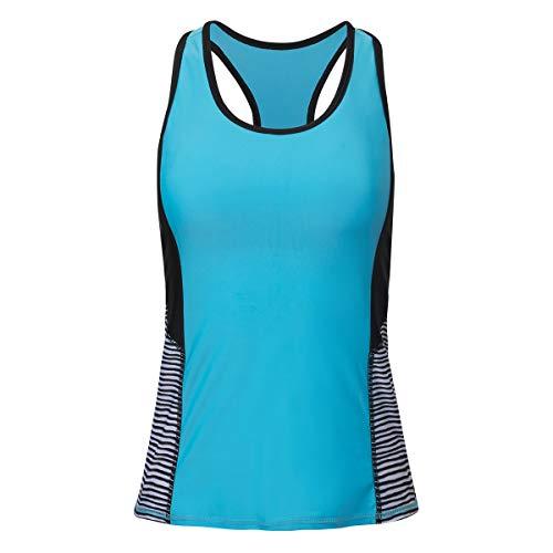(UV SKINZ UPF 50+ Womens Racerback Swim Tank - Aqua Wavy Stripe - XL)