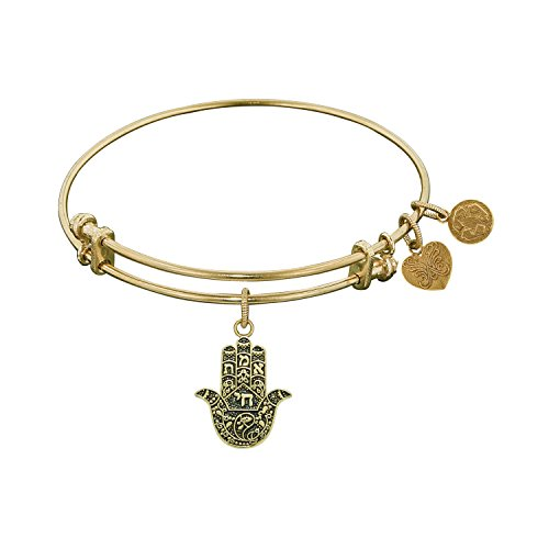 Angelica Collection Antique Yellow Brass Hamsa Hand Bangle Bracelet -  Royal Chain