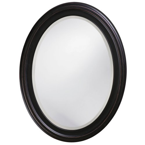 Howard Elliott George Oval Hanging Wall Mirror, Oil Rubbed Bronze Wood Frame -