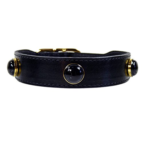 Hartman & Rose Leather Dog Collar with Black Onyx Semi Precious Stones - Au Natural Collection Jeweled Pet Collar Jet Black, 18 to 20 Inch ()