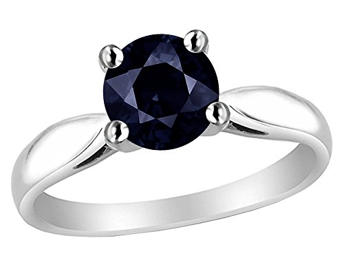 - Star K 7mm Round Black Sapphire Ring Sterling Silver Size 6