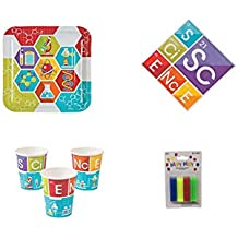THE UM24 Science Party Kit - Birthday Party Supplies Set Science Theme Dinner Plates and Napkins and Cups