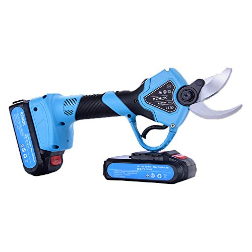 KOMOK Professional Cordless Electric Pruning Shears,2PCS Backup Rechargeable 2Ah Lithium Battery Powered Tree Branch Pruner,30mm (1.2 Inch) Cutting Diameter,6-7 Working Hours