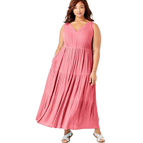 Crinkle Skirt Tier (Woman Within Plus Size Sleeveless Tiered Crinkle Dress - Tea Rose, 18/20)