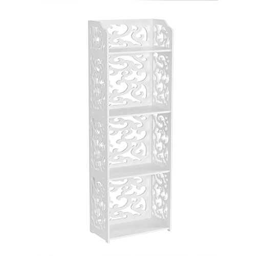 Bookcase Display Unit - Finether 4-Shelf Shelving Unit, Waterproof White Wooden Plastic Composite 4 Tier Shelving Unit Storage Shelf Bookcase Display Shelf with Open Top Shelf for Bedroom Living Room Kitchen Office