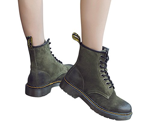 Genda 2Archer Womens Leather Lace-Up Winter Warm Lined Martin Boots Green oDZ1rg