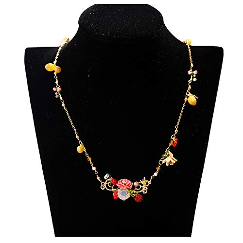 (MXMYFZ Ladies Pendant Necklace Red Enamel Flower Butterfly Gemstone Necklace Europe and South Korea Exaggerated Long Necklace Clothing Accessories)