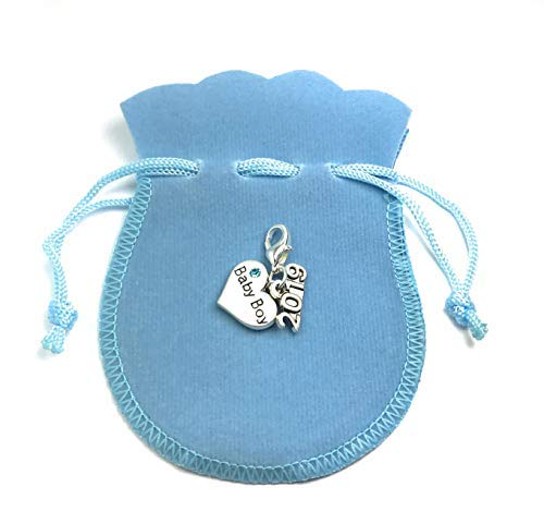 Baby Boy 2019 Clip on Charm with Blue Gift Bag and Gift Card Handmade by Libby's Market Place