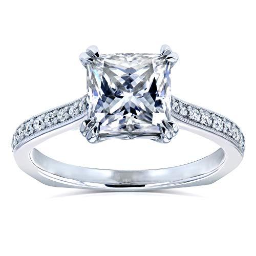Princess Moissanite Square Shank Trellis Engagement Ring 2 1/10 CTW 14k White Gold (HI/VS, GH/I), 6.5