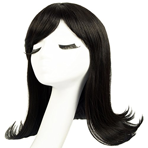 1950 Wigs (Liz Wig 1950's Peggy Sue Medium Long Flip Bob Heat Friendly Cosplay Party Costume Hair Wig 16'' 40cm (Black))