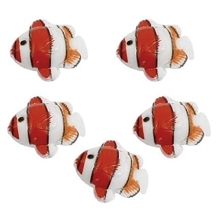eDealMax DE 5 piezas de plástico en Forma de acuario peces tropicales del ornamento, Rojo
