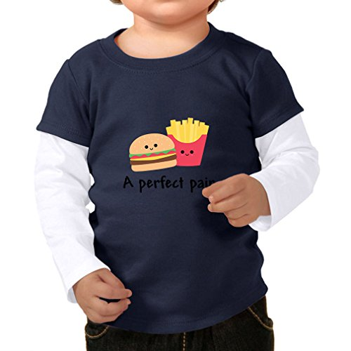 Price comparison product image A Perfect Pair Burger And Fries Infants Two-fer Long Sleeve Tee Top Navy White 24 Months