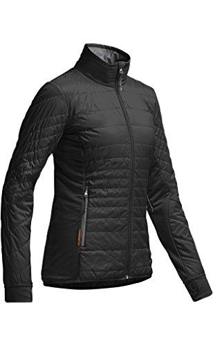 Icebreaker Women's Halo Long Sleeve Zip, Black/Monsoon, X-Large (Monsoon Waterproof Jacket)