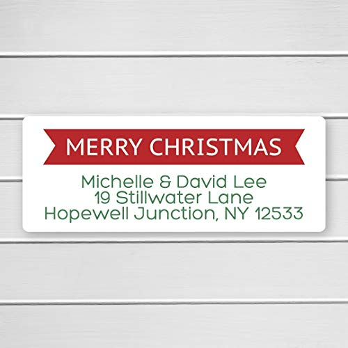 60ct - Merry Christmas Return Address Labels, Christmas Return Address Stickers, Holiday Address Stickers ()