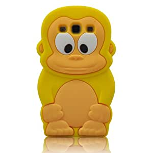 HIGHSTAR Wristband +Yellow 3D Monkey Animal Silicone Rubber Case Skin Cover for Samsung Galaxy SIII S3 I9300