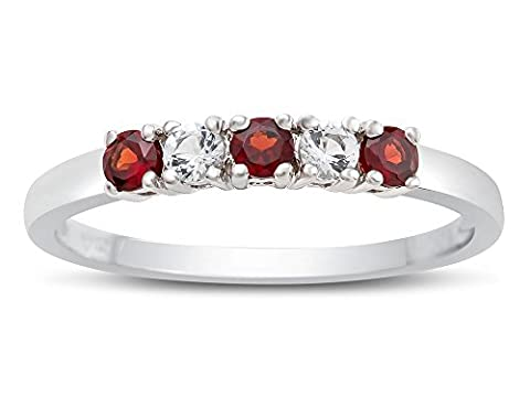 2.5mm Garnet and White Topaz Band / Ring Size 7 (Garnet Rings Clearance)