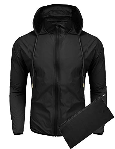 COOFANDY Unisex Packable Rain Jacket Lightweight Waterproof Hooded Outdoor Running Hiking Cycling Raincoat