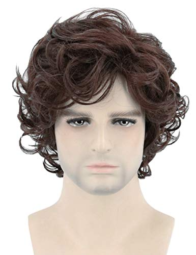 Topcosplay Mens Wigs Short Brown Curly Fluffy Cosplay Halloween Character Costume Wig Layered (Dark Brown) ()