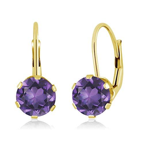 Amethyst 14k Drop - Gem Stone King 1.50 Ct Round Purple Amethyst 14K Yellow Gold Earrings