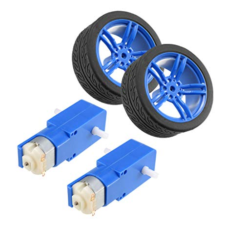 uxcell 2PCS DC Electric Motor 3-6V Dual Shaft Geared TT Magnetic Gearbox Engine w 2PCS Toy Car Tire Wheel, Mini Smart RC Car Robot Tyres ()