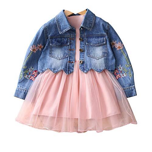 YAO Spring Autumn Little Girls Clothing Set Child Kids Denim Jacket and Long Sleeve Dress 2 Pieces Set (3T, Pink)