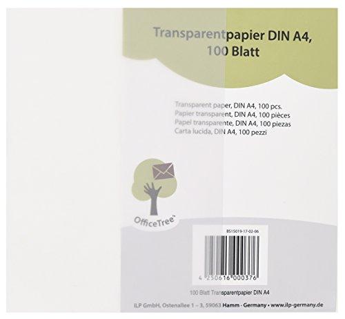 OfficeTree 100 Blatt Transparent Papier DIN A4   Premium Qualität Weiß    Zeichnen Basteln Gestalten Edler Hochzeits Einladungen Speise Karten  Gutscheine ...