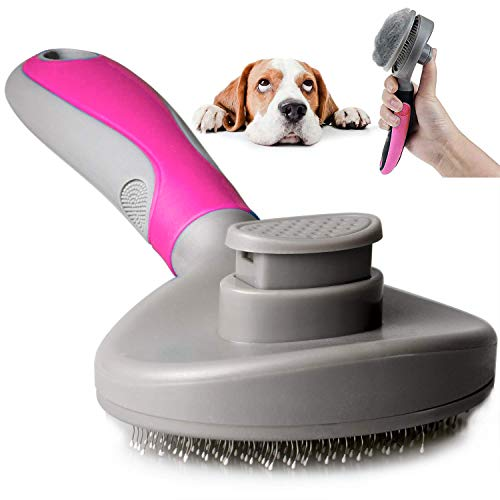 Johnson Alon Pet Self Cleaning Slicker Brush-Gently Removes Loose Undercoat for Dogs&Cat-Grooming Brush for Long&Short Haired Dogs (Red)