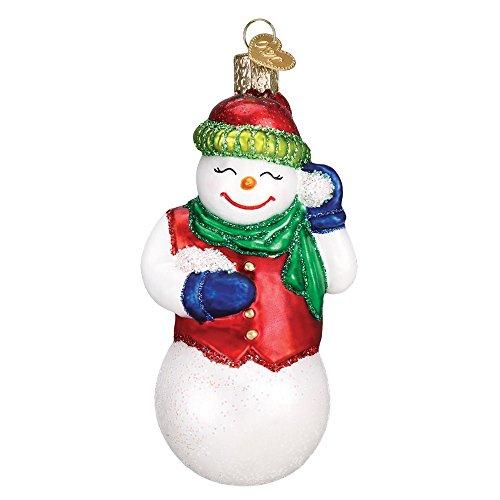 Old World Christmas Glass Blown Ornament Snowball Fight Snowman ()