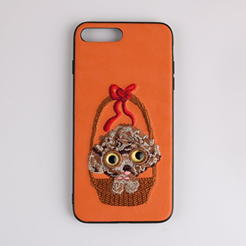 PU Leather Phone Case Hard PC Back Shell Teddy Dog 3D Embroidery Design Embroidered Full Protection Cover for Apple iPhone (Design Teddy Embroidery)