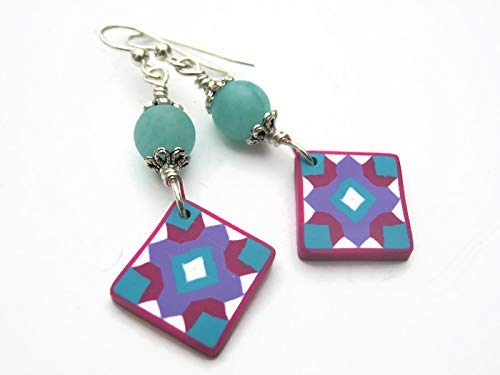 Quilt Block Earrings, Sterling Silver, Aqua Quartz Quilters Jewelry, Limited Edition Polymer Clay Cross Star ()