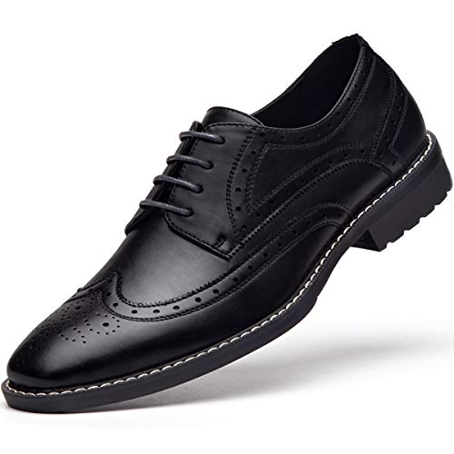 Men's Leather Oxford Dress Shoes Formal Lace Up Modern Plantar Fasciitis Shoes