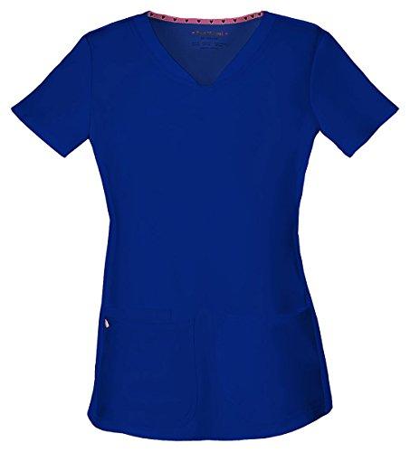 (HeartSoul Women's Pitter-Pat Shaped V-Neck Top_Galaxy Blue_Small,20710)