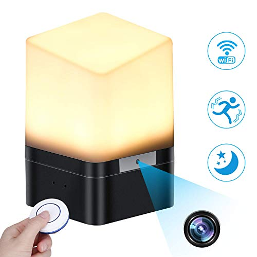 Spy Camera Lamp, KAUPOONK Hidden Camera FHD 1080P WiFi Security Camera Micro Motion Detection Surveillance Cam Indoor USB Chargeable Lamp Video Recorder for Home Employees Car Office Kids Nursery ()