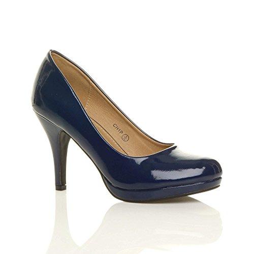 Zapatos Tacón Para Mediano Perfectos Lack Dunkelblau De Muy Fiestas Elegantes wwqFrg5
