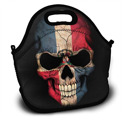 BIANDANN New Dominican Republic Flag Skull Reusable Insulated Zippered Tote,Thermal Lunch Bag Printed Lunch Tote Handbag Kids & Adults Picnic Bag School Cooler Bag