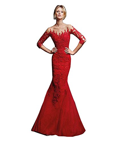 Celebrity Wedding Gowns (Elley Women's 2016 Trumpet Lace Applique Long Sleeves Sweep Train Pagenat Celebrity Dress Wedding Gown Red)
