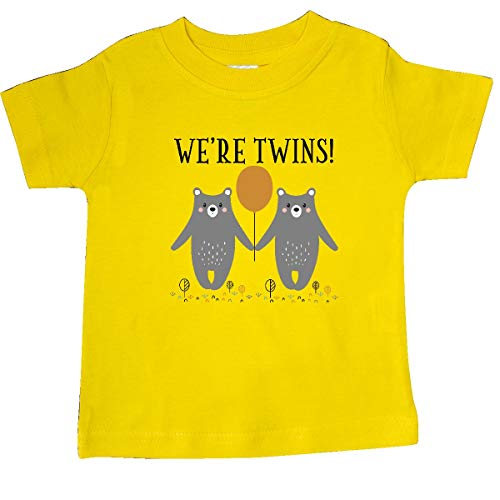 (inktastic - Twins Baby Woodland Bears Baby T-Shirt 18 Months Yellow 35598)