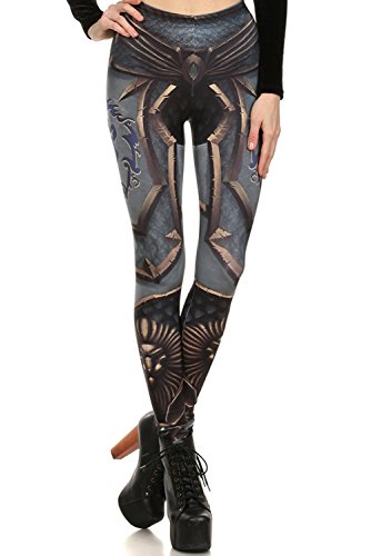 Cool Steampunk Costumes (High Waist Cool Steampunk Print Leggings for Women Halloween Party Costume M)