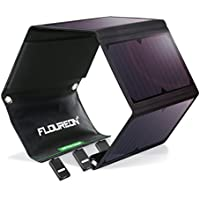 FLOUREON 28W Solar Panel Charger with Triple USB Ports Waterproof Foldable for Smartphones Tablets and Camping Travel