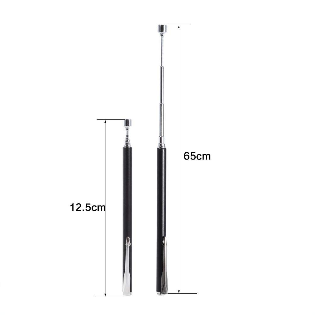 Powerful Magnet with 1-2lb Capacity Easy Magnetic Pick Up Rod Stick with Pen Style Pocket Clip Design Black Telescopic Magnetic Pick Up Tool