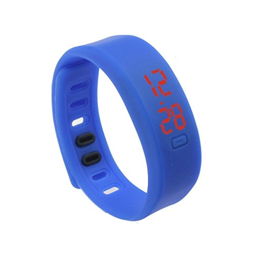 Kingfansion Mens Womens Rubber LED Watch Date Sports Bracelet Digital Wrist Watch (Blue)