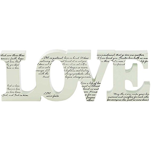 Love Words Inspirational White Black 10 inch Tabletop - Love Plaque