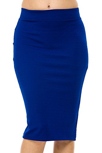 StylesILove Textured Liverpool Womens Pencil Skirt with Back Split (M, Royal Blue)