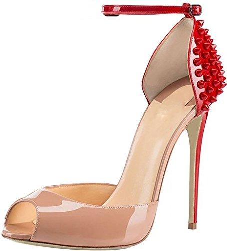 Calaier Donna Caumbrella Peep-toe 12 Cm Sandali Con Fibbia A Spillo Stiletto Beige