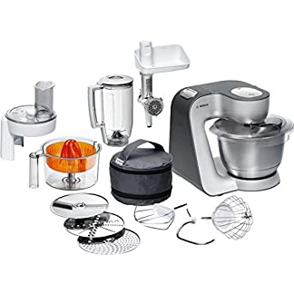 Bosch MUM5 Styline Küchenmaschine MUM56340, vielseitig einsetzbar, große Edelstahl-Schüssel (3,9l), Durchlaufschnitzler, Mixer, Zitruspresse, Fleischwolf, 900 W, silber/anthrazit 7