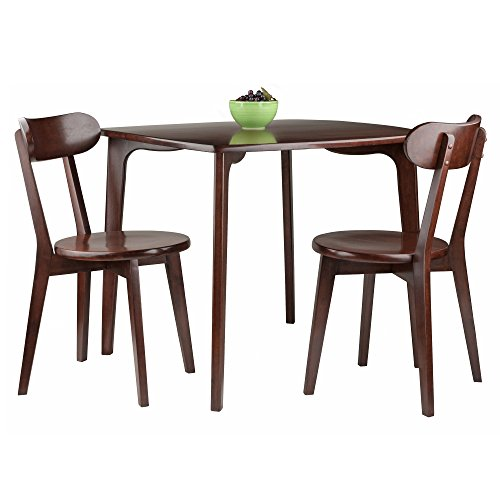 Pauline 3-PC Set Dining Table with 2 Chairs Table Dining Chairs and Antique Room Set Walnut Chippendale Style Svitlife